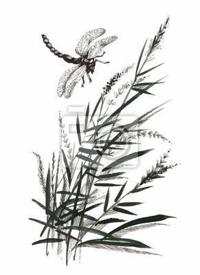 Ręcznie rysowane monochromatyczne kwiaty i ważki na białym tle.