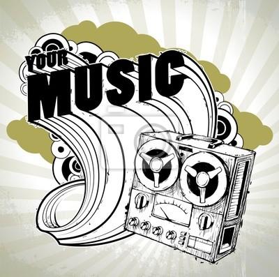 Ręcznie rysowane musical plakat retro z rejestratora