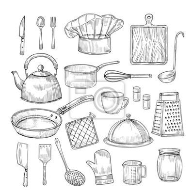 Naklejka Ręcznie rysowane narzędzia kuchenne. Sprzęt kuchenny przybory kuchenne naczynia vintage szkic wektor zbiory. Ilustracja sprzętu kuchennego, łyżka i miska