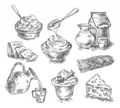 Naklejka ręcznie rysowane produkty mleczne, mleko, ser. naszkicować