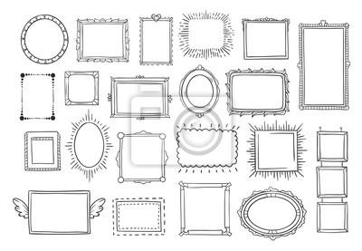 Naklejka Ręcznie rysowane ramki. Archiwalne doodle szkic ramki obrazu. Puste czarne kwadraty kadetów szkice malowane przez ręce wektor zestaw