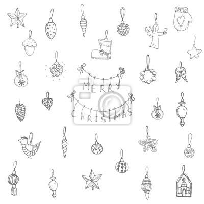 Naklejka Ręcznie rysowane szkicowe elementy Boże Narodzenie Doodle ilustracji wektorowych Santa Claus, bałwan, płatki śniegu, choinki łyżwy, jelenie, anioł, Holly Jolly, dekoracja, Wesołych Świąt