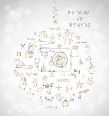 Naklejka Ręcznie rysowane szkicowe elementy Boże Narodzenie Doodle ilustracji wektorowych Santa Claus, bałwan, płatki śniegu, choinki łyżwy, jelenie, anioł, Holly Jolly, dekoracja, Wesołych Świąt i Szczęśliweg