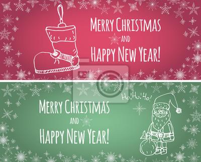 Naklejka Ręcznie rysowane szkicowe elementy Doodle ilustracji wektorowych Boże Narodzenie karty Santa Claus, Ho-Ho-Ho, pończochy, płatki śniegu dekoracji Wesołych Świąt, Szczęśliwego Nowego Roku