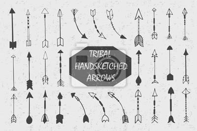 Ręcznie rysowane tuszem plemiennej rocznika ze strzałkami. Etniczne ilustracja, Indianie tradycyjny symbol.