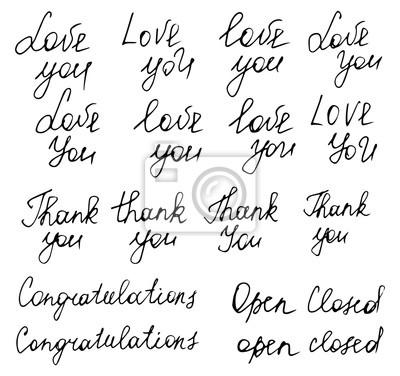 """Ręcznie rysowane typografii plakaty. Słowa """"Kocham Cię"""", """"dziękuję"""", """"Co"""