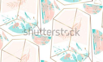 Naklejka Ręcznie rysowane wektor streszczenie artystyczny geometryczny wzór z kryształowe terrarium i brunch w kolorach złota, pastel i tiffany niebieski na białym tle. Poligonalny artystyczny.