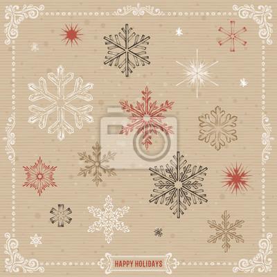 Ręcznie rysowane zestaw z płatki śniegu Happy Holidays banerów i zawirowania ramy projektu na papier pakowy tle. ilustracji wektorowych.