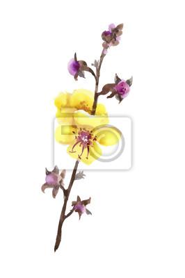 Ręcznie rysowane żółte i fioletowe kwiaty na białym tle.
