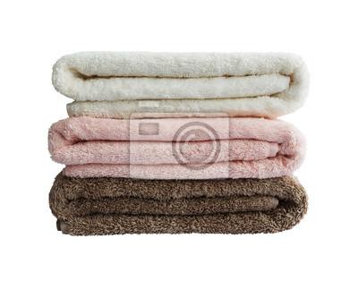 Naklejka Ręczniki w stos. Biały, różowy, brązowy.
