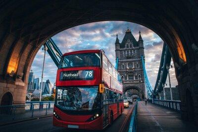 Naklejka Red double decker bus at the Tower Bridge in London