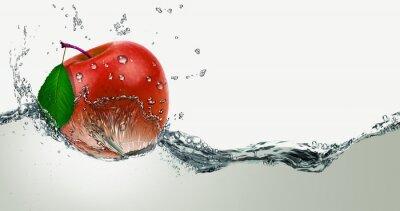 Naklejka Red,juicy Apple in a spray of water.