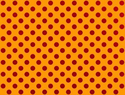 Naklejka red polka dot na pomarańczowym tle
