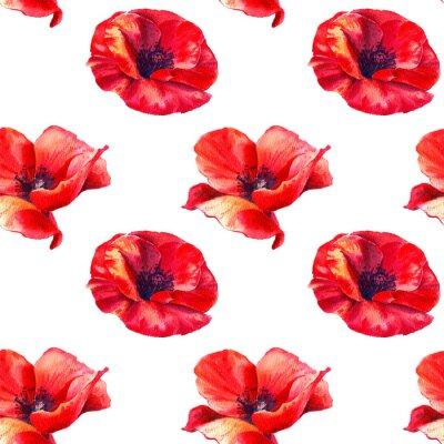 Naklejka Red poppies on a white background. Floral seamless pattern with big bright flowers.Summer watercolour illustration for print textile,fabric,wrapping paper.