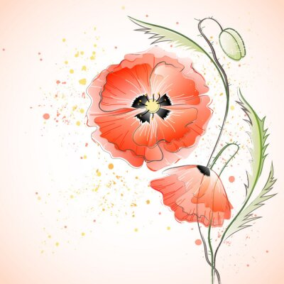 Naklejka Red Poppy Bouquet
