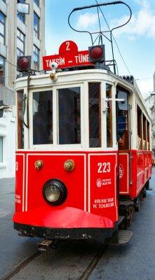 Naklejka Red retro Tramwaj na Taksim Istiklal Street