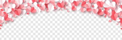 Naklejka Red, rose pink and white hearts border isolated on transparent background. Vector illustration. Paper cut decorations for Valentine's day design
