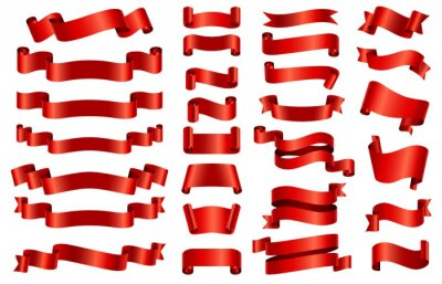 Naklejka Red silk ribbon banners. 3d curved and spiral glossy ribbons for congratulation, opening, gift or festive. Satin decorative band vector set