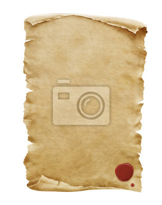 Naklejka Red wax seal on old paper manuscript or papyrus scroll vertically oriented isolated on white background.
