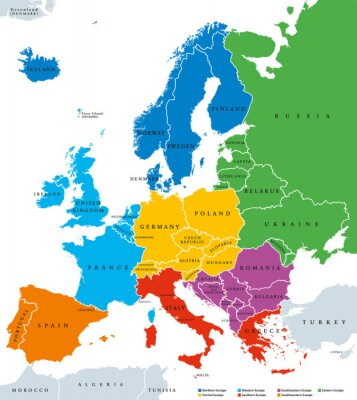Naklejka Regions of Europe, political map, with single countries and English labeling. Northern, Western, Southeastern, Eastern, Central, Southern, Southwestern Europe in different colors. Illustration. Vector