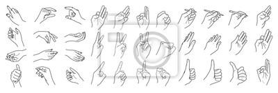 Naklejka Ręki odizolowywać na białym tle, ręki kolekcja, wektorowa kontur ilustracja, set palec