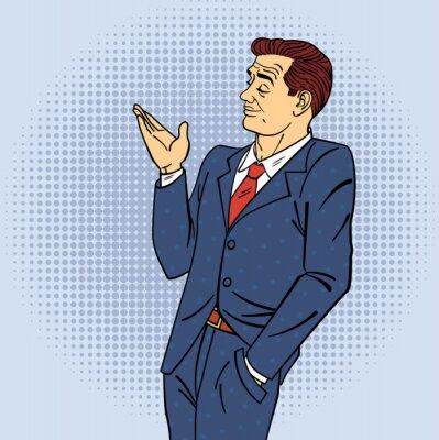 Naklejka Reklama Człowiek w stylu pop Ręcznie wskazując na produkt