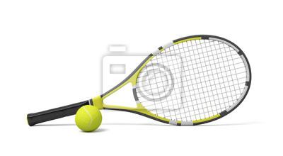 Naklejka Renderowania 3D pojedynczy rakieta tenisowa leżącego z żółtą kulką na białym tle.