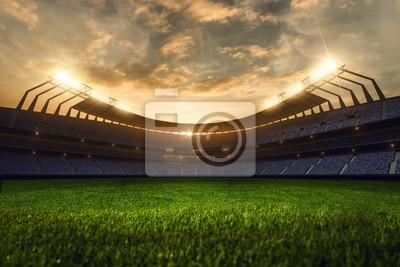 Naklejka Renderowania 3D pustego stadionu wieczorem