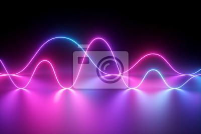 Naklejka Renderowania 3d, światło neonowe, pokaz laserowy, impuls, wykres, widmo ultrafioletowe, puls linie energetyczne, energia kwantowa, różowy niebieski fiolet świecące dynamiczna linia, streszczenie tło,