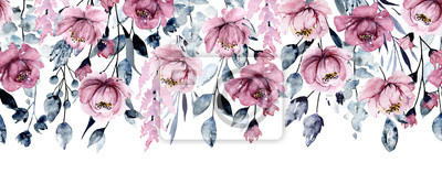 Repeating banner with watercolor pink flowers, botanical hand painting, isolated on white background.