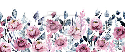Repeating border with watercolor pink flowers, botanical hand painting, isolated on white background.