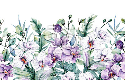 Repeating pattern border with watercolor flowers orchids and leaves. Tropical design for wedding stationary, greeting card, fashion, background, postcard etc. Hand painting.