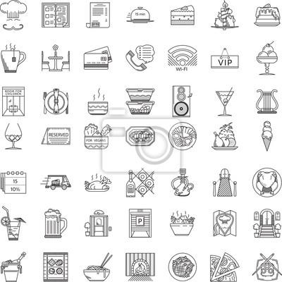 Restauracja płaska linia ikony kolekcji