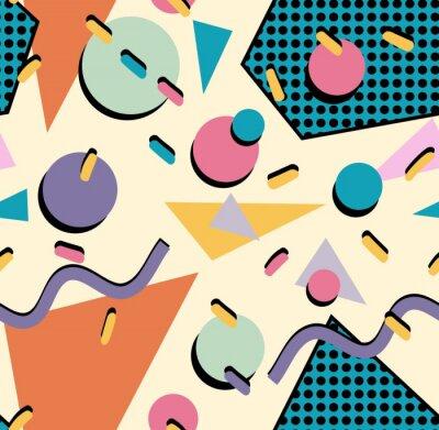 Naklejka Retro 80s bezszwowe tło wzór