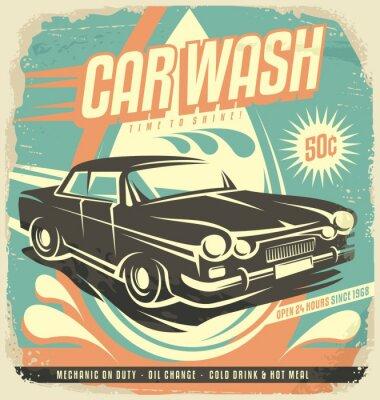 Naklejka Retro car wash poster design