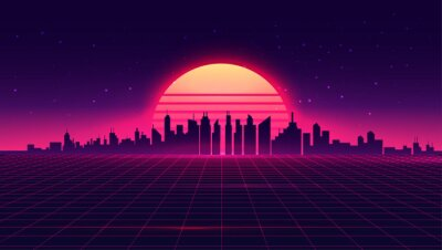 Naklejka Retro futuristic synthwave retrowave styled night cityscape with sunset on background. Cover or banner template for retro wave music. Vector illustration.