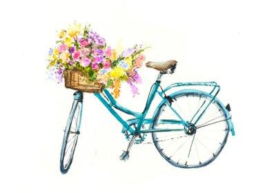 Naklejka Retro niebieski rower z kwiatami w koszyku na białym izolacji, akwarela ręcznie rysowane na papierze