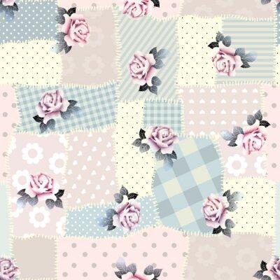 Naklejka Retro patchwork z róż.