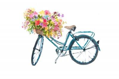 Naklejka Retro rower niebieski z kwiatem na bia? Ym tle, ilustrator akwarela, sztuki rowerów
