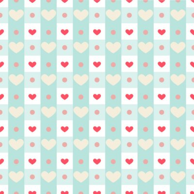 Naklejka Retro seamless pattern with small hearts on gingham background