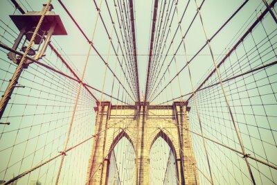 Naklejka Retro stonowanych obraz Brooklyn Bridge, NYC.