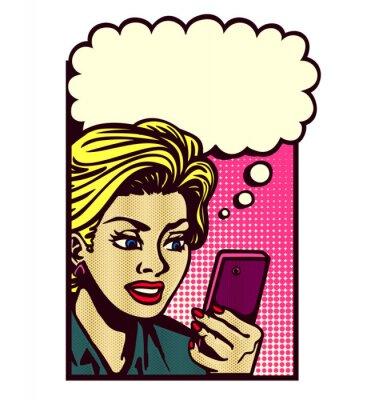 Naklejka Retro styl komiksowy kobieta patrząc na smartphone, tekstylny, czytanie wiadomości tekstowych, SMS i myślenia z dymka wektor rocznika pop sztuki ilustracji