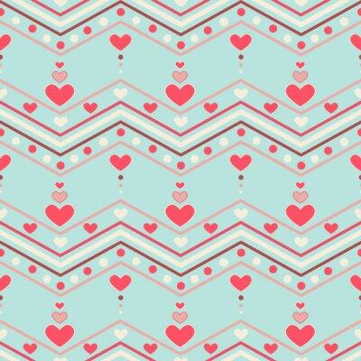 Naklejka Retro style chevron seamless pattern with hearts