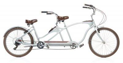 Naklejka Retro stylem rower tandem samodzielnie na biały