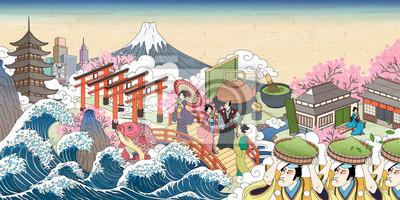 Naklejka Retro uliczna sceneria Japonii