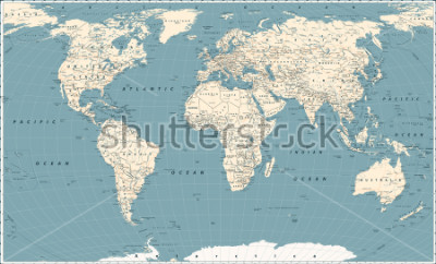 Naklejka Retro World Map and Main State Roads. Large Detailed World Map vector illustration.
