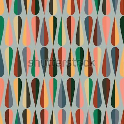 Naklejka Retro wzór z połowy wieku w nowoczesnym stylu z kształtami kropli w różnych odcieniach kolorów, abstrakcyjne powtarzające się tło dla wszystkich celów internetowych i drukowania.