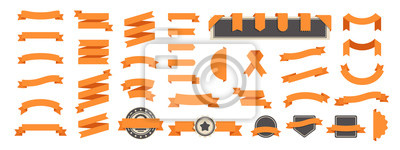 Naklejka Ribbon banner set isolated on a white background. Orange color. Simple modern cute design. Labels, bookmarks and tags. Flat style vector illustration. Big collection.