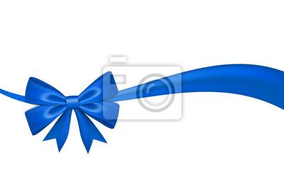 Naklejka Ribbon bow for gift, isolated white background. Satin design festive frame. Decorative Christmas, Valentine day card, present holiday decoration. Birthday shiny silk ribbon bow. Vector illustration