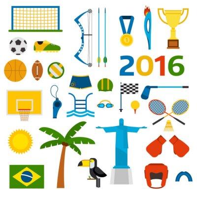 Naklejka Rio Letnie Igrzyska Olimpijskie ikony ilustracji wektorowych